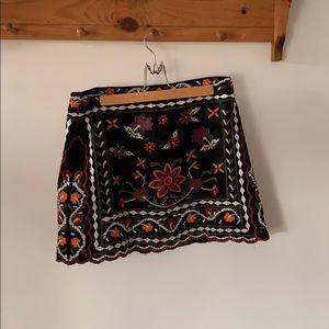 Forever 21 embroidered mini skirt